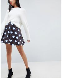 ASOS - Blue Mini Skater Skirt In Heart Print - Lyst