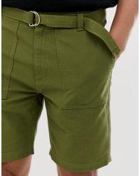 Bellfield Green Wide Leg Belted Utility Cargo Shorts for men