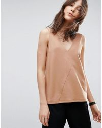 ASOS | Natural Sleeveless Top In Ponte With Asymmetric Wrap Detail | Lyst