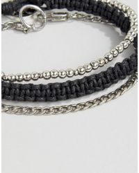 Icon Brand Metallic Chain & Woven Bracelet Pack for men