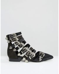 Jeffrey Campbell Black Psych Multi Buckle Flat Ankle Boots