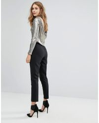 TFNC London - Metallic Sequin Crop Top With Cowl Back - Lyst