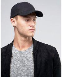 SELECTED Black Baseball Cap In Wool for men