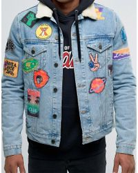 ASOS Denim Jacket With Patches & Borg Collar In Blue Wash for men