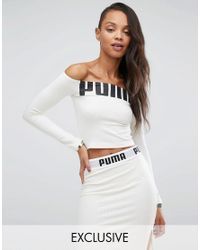 PUMA | Gray Exclusive To Asos Off The Shoulder Logo Top | Lyst