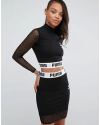 f74006f4a27 PUMA Exclusive To Asos Cropped Mesh Top Co Ord in Black - Lyst