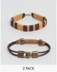 ASOS - Brown Bracelet Pack With Rope Detail for Men - Lyst