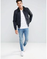 New Look Blue Harrington Jacket In Navy With Borg Collar for men