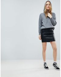 Noisy May Black Faux Leather Skirt