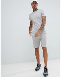 ASOS Gray Asos Tracksuit Muscle Short Sleeve Sweatshirt/skinny Short In Light Grey for men