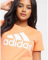 Adidas Pink Logo Badge Of Sport T-shirt