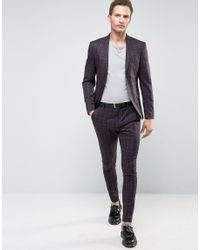 SELECTED Multicolor Elected Homme Super Skinny Suit Jacket In Check for men