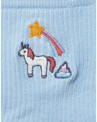 ASOS - Blue Unicorn Poo And Rainbow Embroidered Badge Socks - Lyst