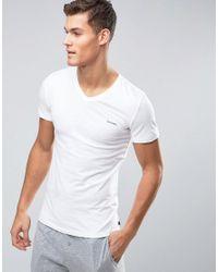 DIESEL | Logo V Neck T-shirt In Stretch Cotton White for Men | Lyst