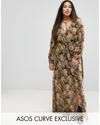 ASOS | Cold Shoulder Long Sleeve Maxi Dress In Floral Print With Metallic Thread | Lyst
