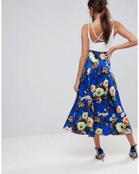 ASOS Blue High Waisted Scuba Midi Skirt In Floral Print