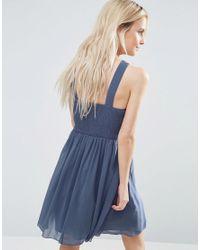 Little Mistress Gray Skater Dress With Embellished Strap