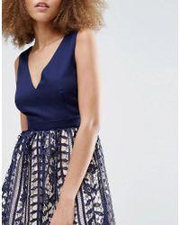 Little Mistress Blue Crochet Lace Plunge Mini Dress - Navy