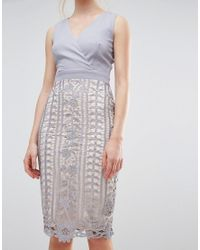 Little Mistress - Gray Crochet Lace Wrap Front Midi Bodycon Dress - Lyst