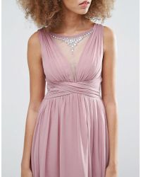 Little Mistress - Pink Dipped Hem Maxi Dress - Lyst