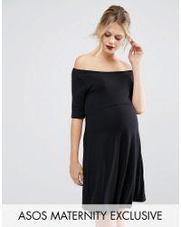 ASOS Black Bardot Skater Dress With Half Sleeve