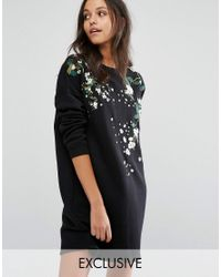 Missguided Black Embroidered Sweat Dress