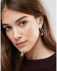 ASOS - Metallic Knotted Hoop Earrings - Lyst