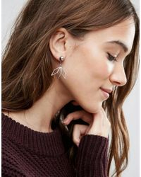 ASOS - Metallic Open Leaf Swing Earrings - Lyst