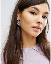 ASOS - Metallic Enamel Flower Swing Earrings - Lyst