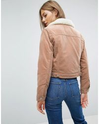 ASOS | Crop Velveteen Jacket In Pale Pink With Borg Collar | Lyst