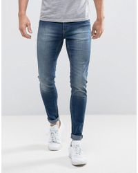 Cheap Monday Spray On Jeans In Blue Smoke for men