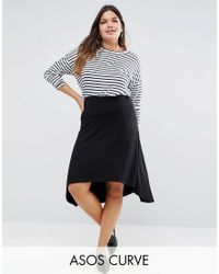 ASOS Black Midi Skater Skirt With High Low Hem