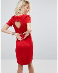 7ddfafd81418b Love Moschino Dress With Cut Out Heart Back in Red - Lyst