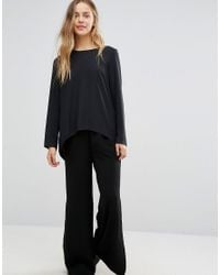 Vila Black Long Sleeve Dip Hem Top