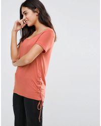 Vila | Blue Short Sleeve T-shirt With Lace Tie Detail | Lyst