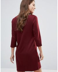 Vila Red 3/4 Sleeve Dress With Lace Neckline