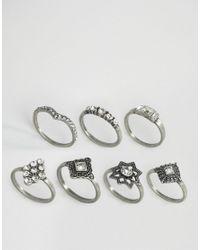 Pieces - Metallic Filipa Stacking Rings - Lyst