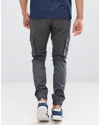 Only & Sons - Gray Cargo Trouser With Cuffed Hem for Men - Lyst