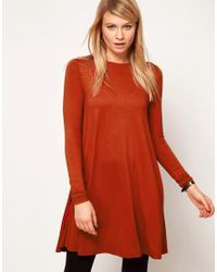 ASOS Red Swing Dress with Long Sleeves