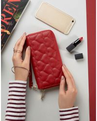Yoki Fashion - Red Yoki Quilted Zip Around Purse - Lyst