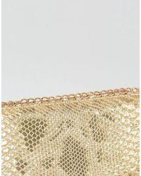 Yoki Fashion - Metallic Yoki Faux Reptile Print Purse - Lyst