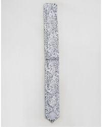 ASOS Black Skinny Tie In Snakeskin Print for men