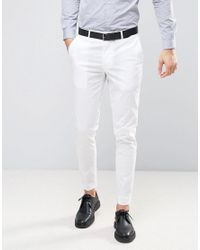 ASOS Wedding Skinny Suit Trouser In Stretch Cotton In White for men