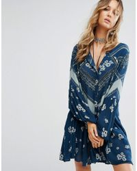 Free People | Blue From Your Heart A-line Printed Dress | Lyst