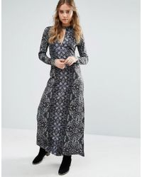 Free People | Blue Cabaret Long Sleeved Print Maxi Dress | Lyst