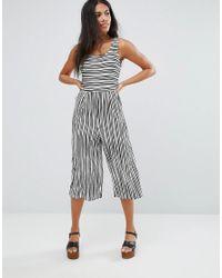 Liquorish | Multicolor Striped Wide Leg Culotte Jumpsuit | Lyst