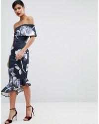 ASOS | Blue Dark Floral One Shoulder Asymmetric Pephem Midi Dress | Lyst