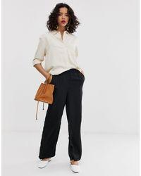 Vero Moda Black – Hose mit weiten Beinen und elastischem Taillenbund