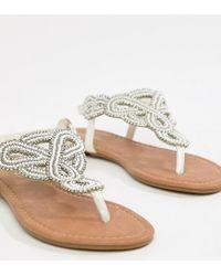 Park Lane White Embellished Flat Sandals