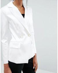 Closet - Closet Lapel Two Button Jacket - White - Lyst